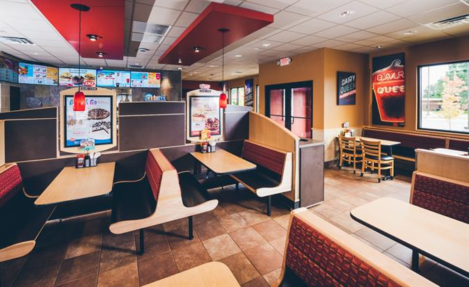 Inside Dairy Queen Grill & Chill Dining Area